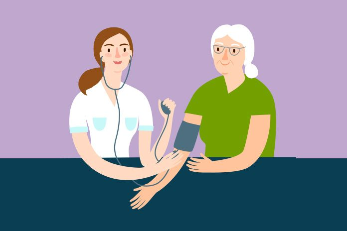 Image of GP taking blood pressure to show GP activity in England
