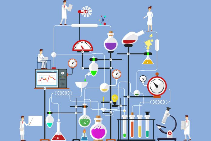 Graphic of a complicated scientific set up and scientists.