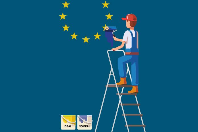 painter removing star from EU flag highlighting access to medicine after Brexit