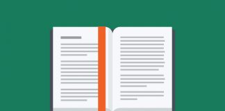image of an open book with red bookmark on green background to show Response to the Paterson Inquiry report