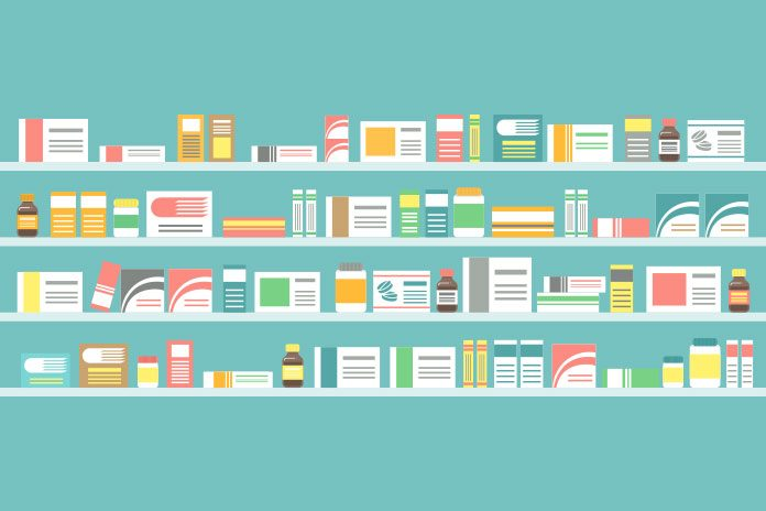 Shelves of drugs showing 5 Year antimicrobial resistance plan