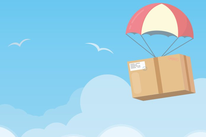 Parachute with box: Falsified Medicines Directive supply chain