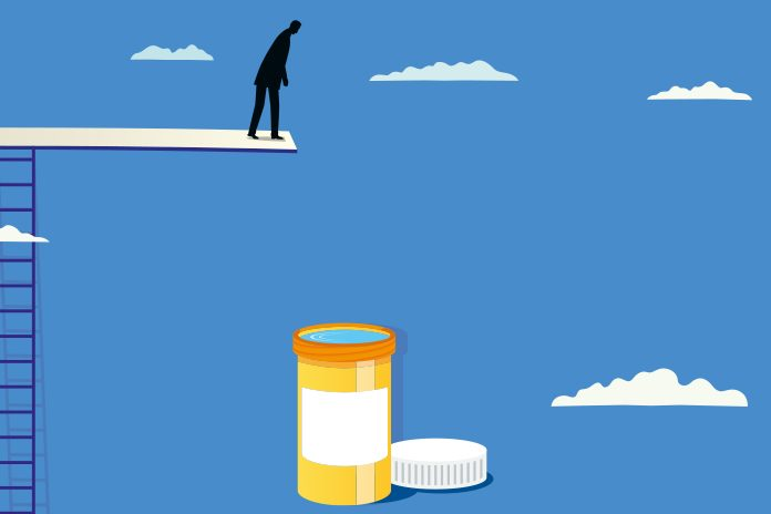 Mad on diving board jumping into pill pot depicting question does health trust pharma