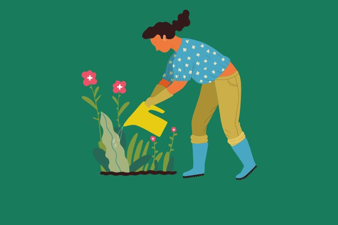 Lady watering flowers patient centricity in pharma