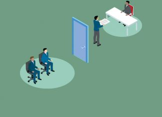 cartoon interview room. How to get into a healthcare agency