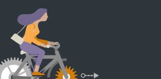 woman riding bike made of cogs agile working in pharma