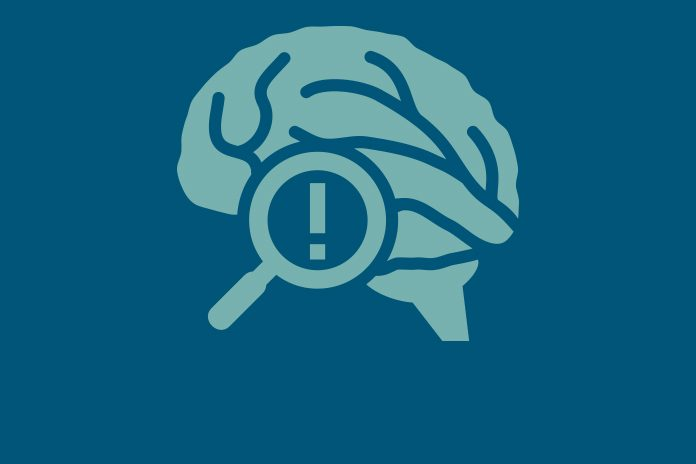 A brain containing an exclamation mark and a magnifying glass to show a new initiative to revitalise drug discovery in psychiatric disease