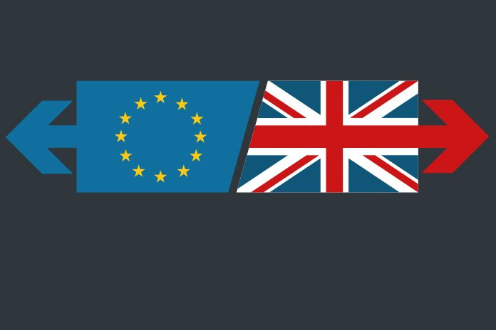 EU and UK flags highlighting impact of Brexit on health and social care supply