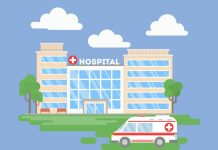 image of a hospital and ambulance to show BMA legal action against NHS Property Services over 'unjustifiable' fee hikes