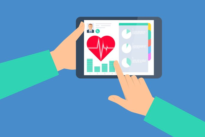 image of ipad with patient information heart and trace line to show Medtronic's implantable cardiac monitors recommended on NHS