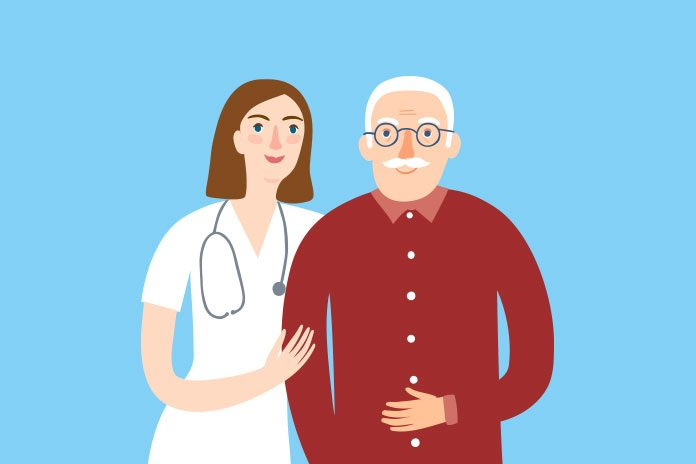 image of nurse and older man holding his stomach to show Gut bacteria and Parkinson's: new research on links