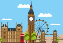 Cartoon image of westminster with big ben, london eye, red telephone box and houses of parliament to show ABPI responds to General Election result