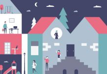 House with people walking: How company culture is a critical factor in job satisfaction