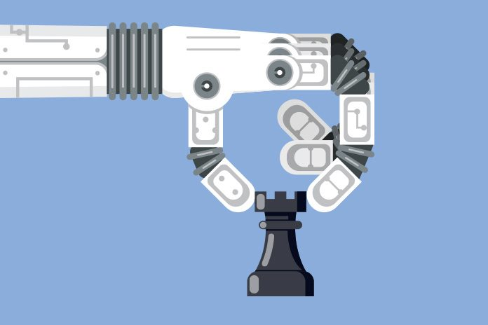 robot holding chess piece: Cyber threats in healthcare