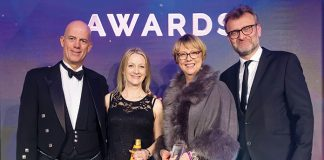 From L to R: Pierre van Weperen, Katrina Lyons, Sue Foster and Pf Awards 2019 host, Hugh Dennis: Delivering excellence at Leo Pharma