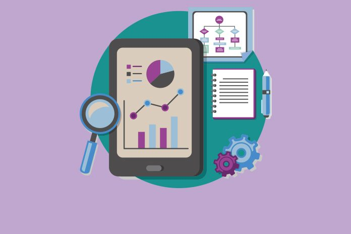 image of tablet, magnifying glass, pad, pen and cogs with graphs and flow charts to show NICE wants more data on histology independent cancer treatments