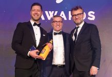 Tom receiving his Experienced Account Manager Award. From L to R: Tom Marlow, Alistair Donnachie and Pf Awards host, Hugh Dennis: LEO Pharma's Tom Marlow, winner of the Experienced Account Manager Pf Award 2019, on how sharing and collaboration have helped him to achieve success.