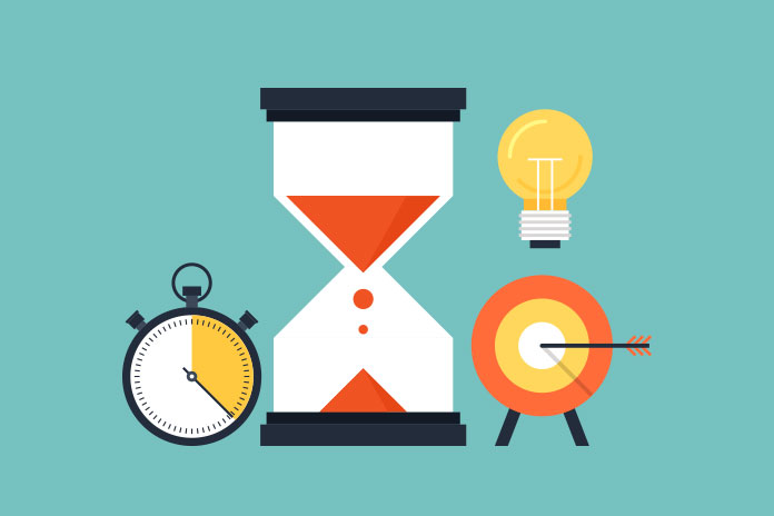 Image of an hourglass, lightbulb, target with arrow and stop watch to show Synaptiq Health launches as collection of life sciences agencies and consultancies