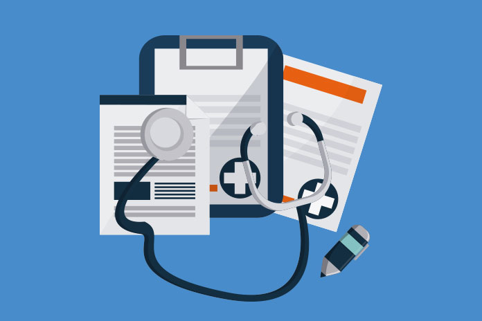 Image of clipboard and medical forms with stethoscope and pencil to show Chemotherapy-free treatment for lymphoma recommended by NICE