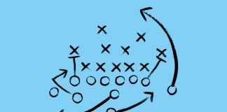 Image of football tactics on a blue background to show Chiesi launches global rare diseases division