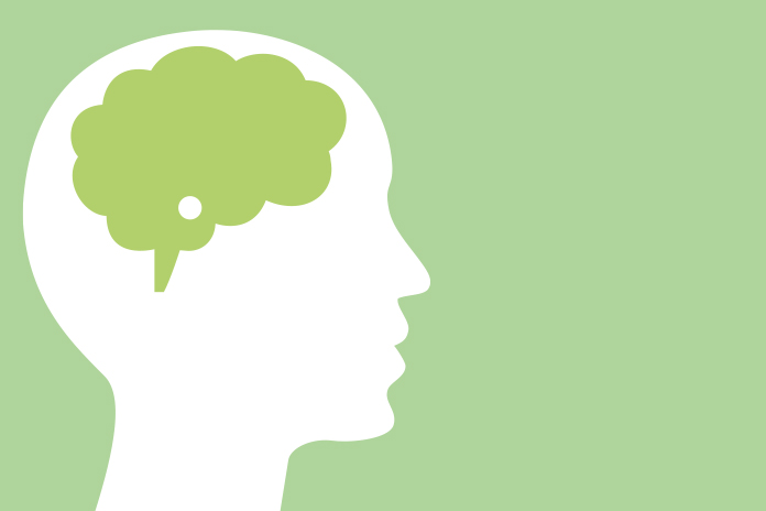 Image of a head with green brain on a green background to show Looking for a breakthrough in Parkinson's research