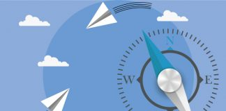 Image of compass on blue background with clouds and paper aeroplanes flying around to show AstraZeneca is donating face masks to healthcare workers around the world