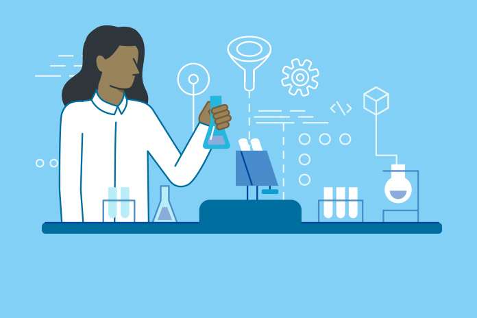 Image of a scientist at a lab to show Life sciences industry releases COVID-19 testing and diagnostics FAQs