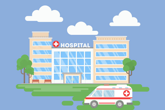 Graphic image of a hospital to show Private hospital merger to be approved if local concerns addressed