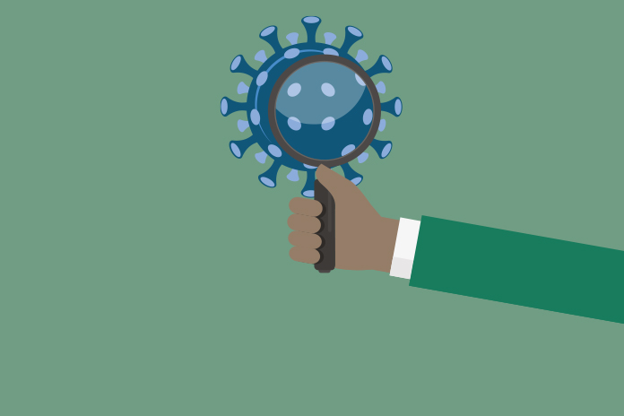 Graphic image of a hand holding a magnifying glass over the top of the coronavirus to show Interactive tool shows the science behind COVID-19 control measures