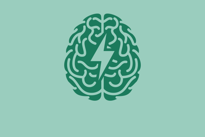 Graphic image of a green line drawn brain with a lightning flash in the middle on a green background to show Antibody designed to recognise Alzheimer's disease pathogens