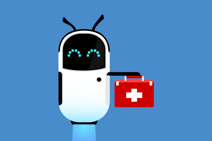 Image of a robot holding a medical bag to show Digital transformation in the NHS