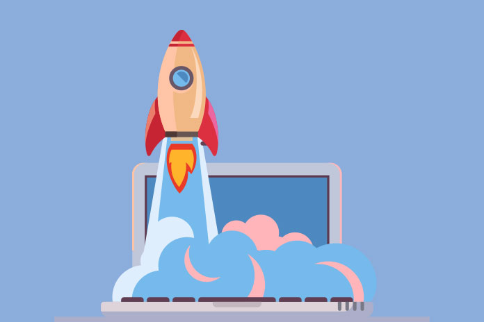 Image of a rocket launching from a laptop keyboard to show Pf Webinars: Adopting Agile for more effective cross-functional marketing teamwork