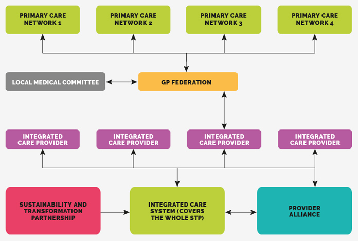 Image of the structure around an example integrated care system