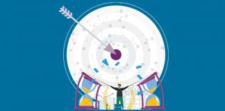 Image of a target with an arrow in the middle, two sandtimers and a person to show Uncovering the immunogenic effect of chemotherapy in ovarian cancer