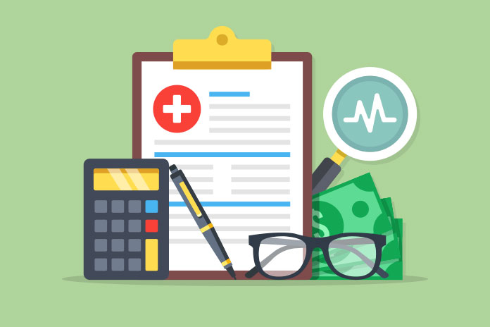 Image of a clipboard with a white cross on a red background, heart trace, calculator, pen, money and glasses to show COVID-19 forces radical changes in NHS finance