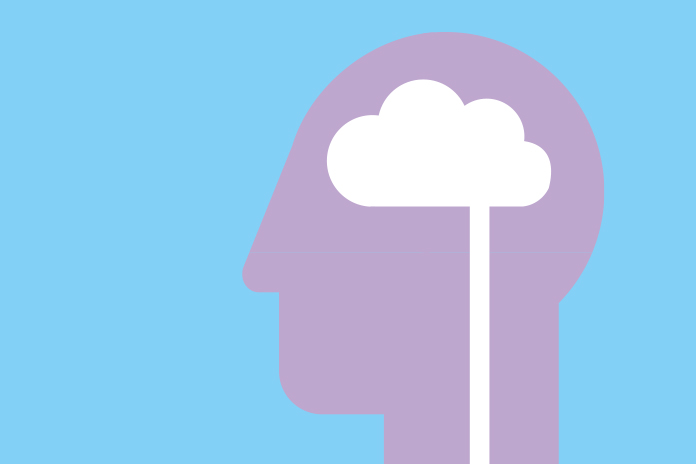 Image of a head with a cloud brain to show Post COVID-19 mental health crisis awaits