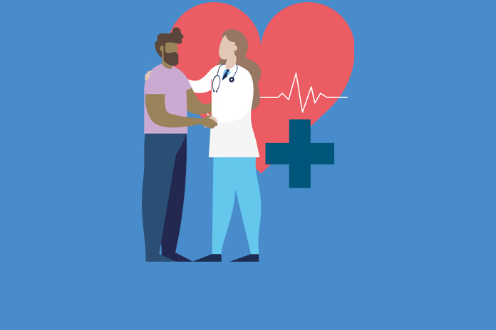 IMage of a doctor and patient in front of a heart with trace to show First Do No Harm: Independent Medicines and Medical Devices Safety Review publishes its recommendations