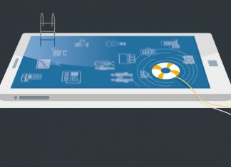 Image of an iPad s a swimming pool with ladder and life ring to show Innovative technology in the medical devices market