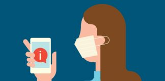 Woman with mask on phone: use of electronic prescribing
