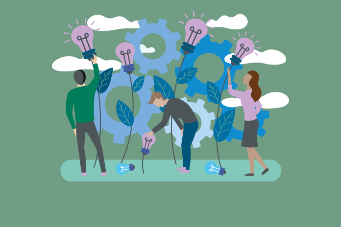 Image of business people nurturing plants growing with light bulbs at the top to show Primary care networks and mental health services post COVID-19