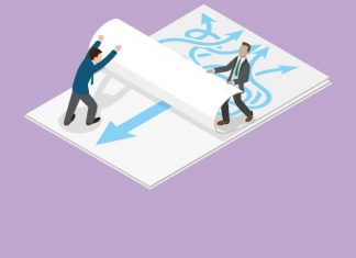 Image of two people standing either side of a large piece of paper, one side is confused lines pointing everywhere, the other side is a straight line, they are working together to reveal the straight line to show From conflict to collaboration – the marketing and medical affairs interface