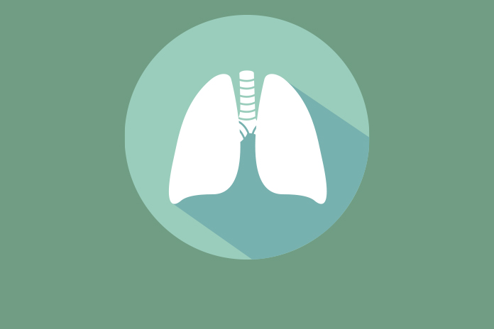 Image of white lungs on green background to show EU approves Imfinzi for extensive-stage small cell lung cancer